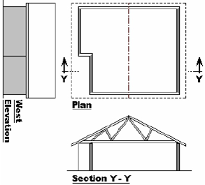 A Section through a cantilevered area